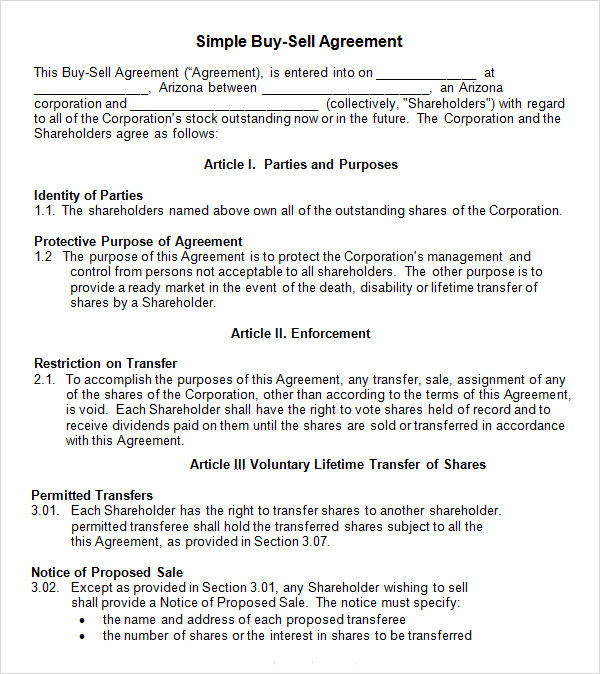 simple buy sell agreement template sample buy sell agreement 7