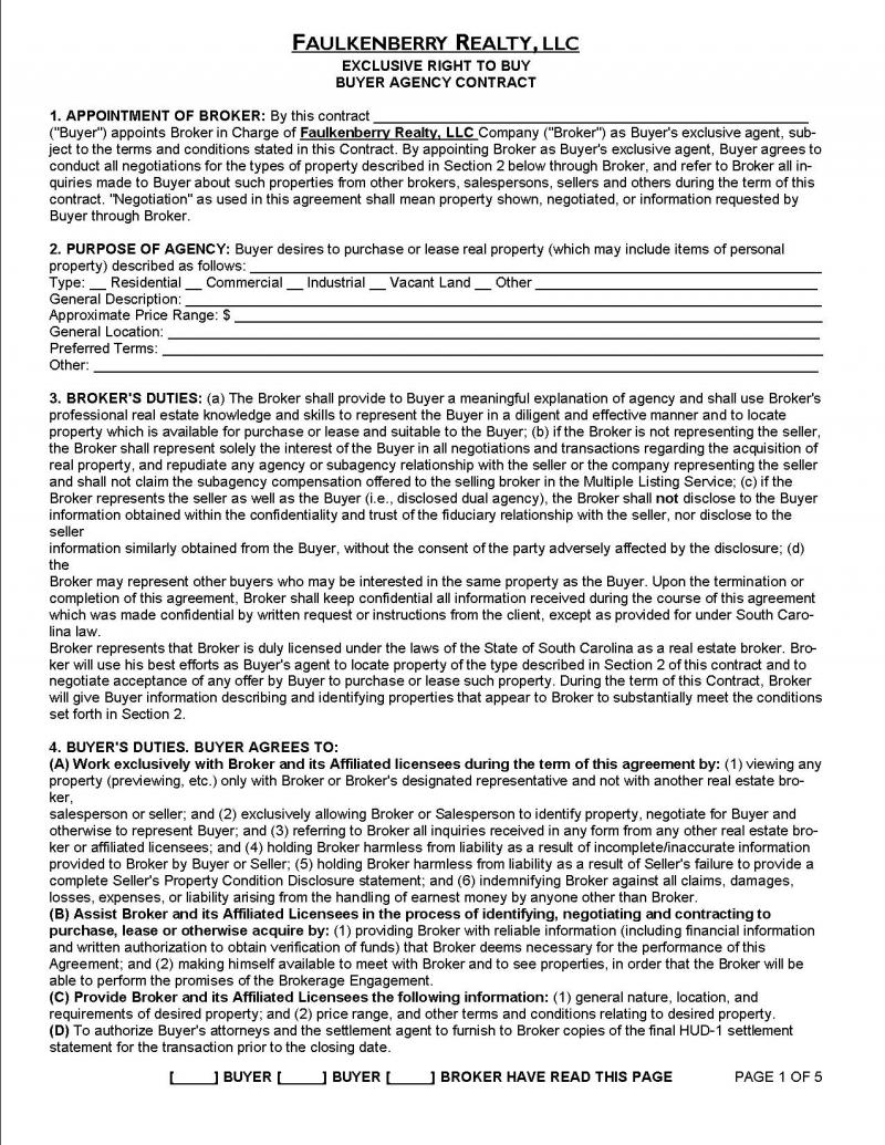buyer's agent agreement template buyers listing agreement