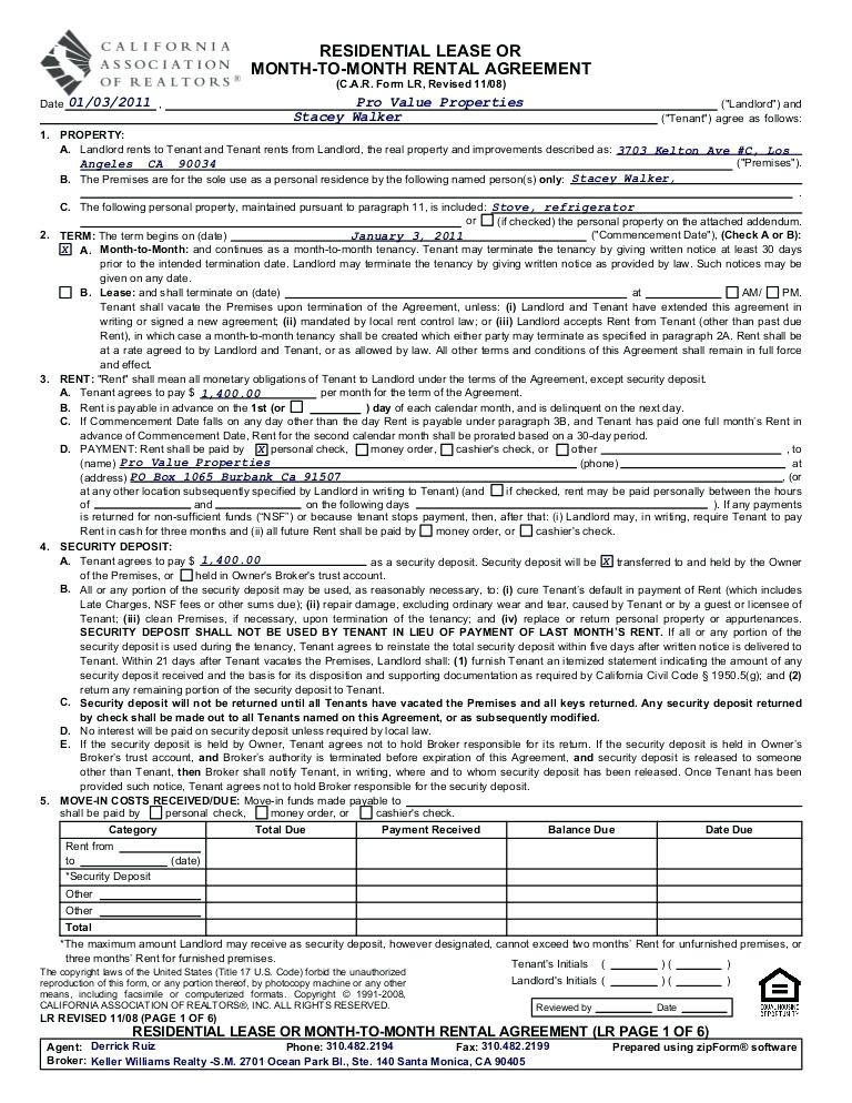 California Association Of Realtors C.a.r Lease Agreement Template
