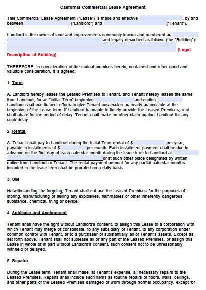 california lease agreement template free california commercial