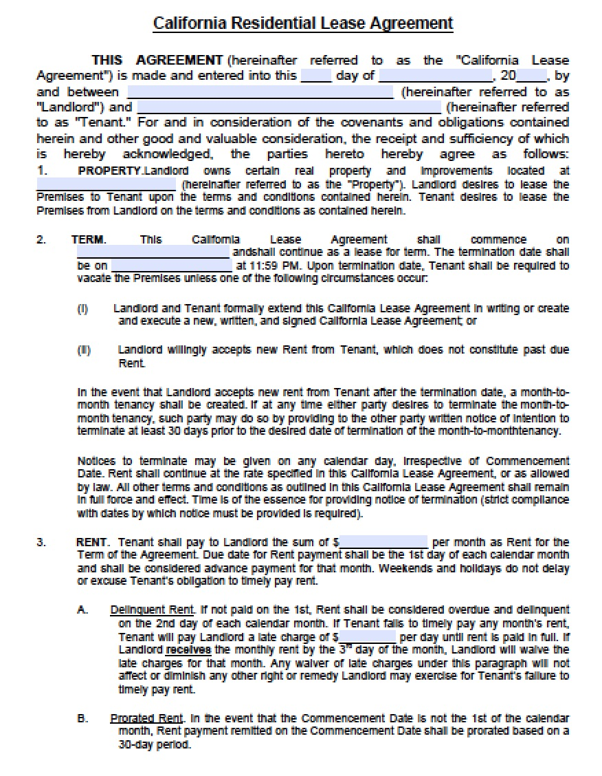 Free California Residential Lease Agreement   PDF   Word (.doc)