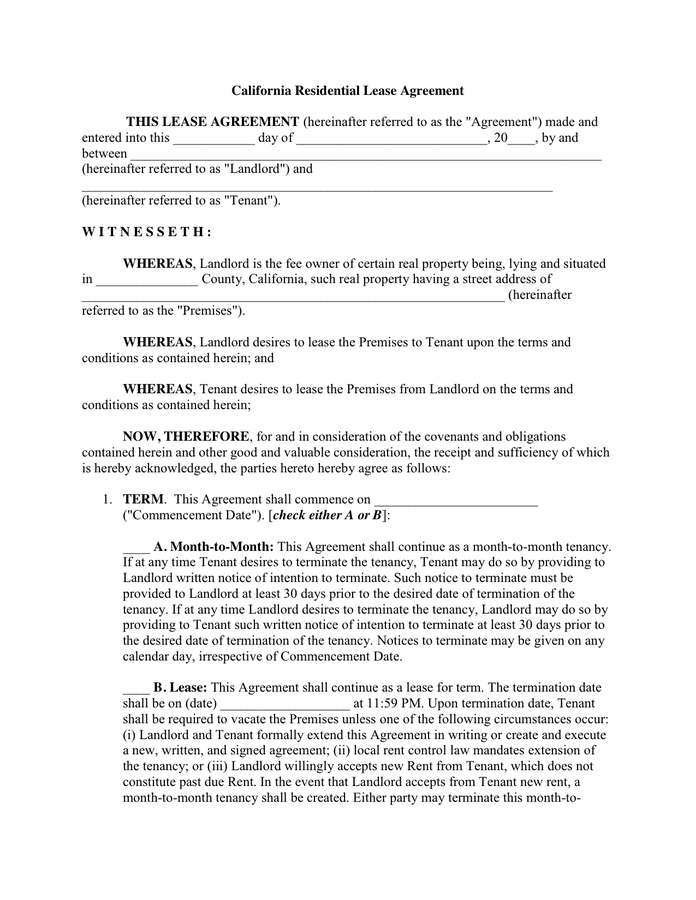 California Residential Lease Agreement in Word and Pdf formats