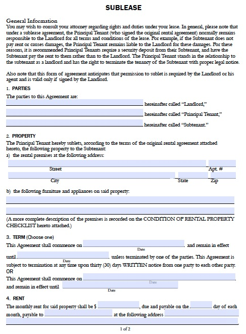 Free California Sublease Agreement Form – PDF Template
