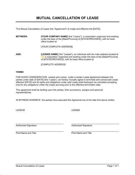 termination of lease agreement template mutual cancellation of