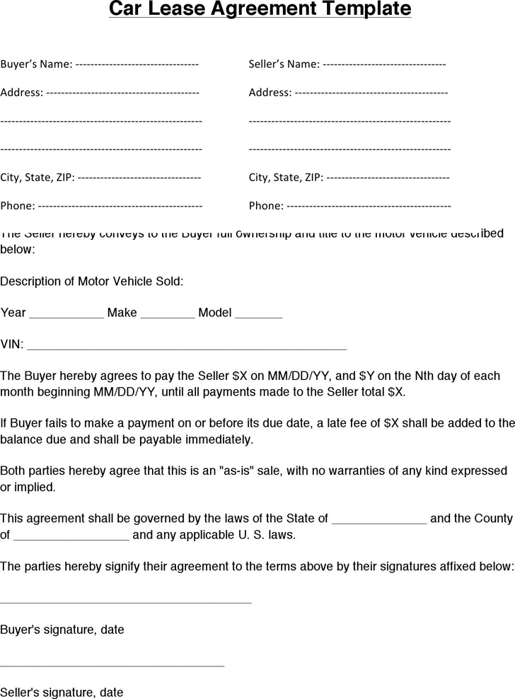simple vehicle lease agreement template vehicle lease agreement