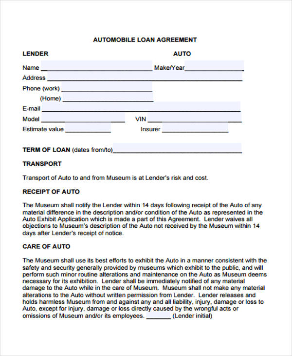 auto loan agreement template 40 printable loan agreement forms
