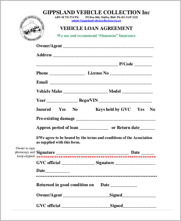 car loan repayment agreement template free loan agreement form