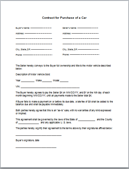 purchase agreement template car auto purchase agreement template