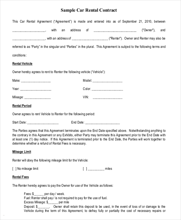 rental car agreement template 16 car rental agreement templates