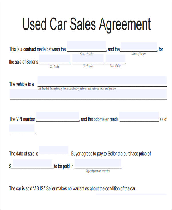 auto agreement of sale template used car purchase agreement