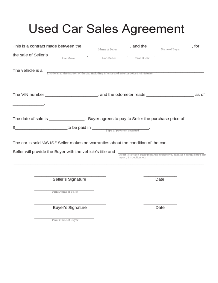 car sales agreement template template for car sale agreement used
