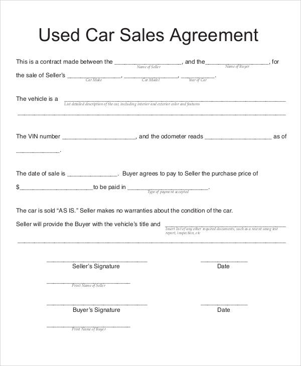 used car sale agreement template car sales contract template