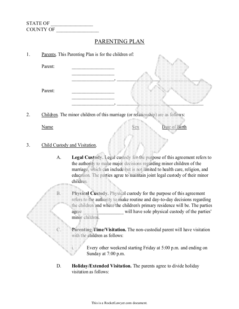 Parenting Plan Child Custody Agreement Template (with Sample