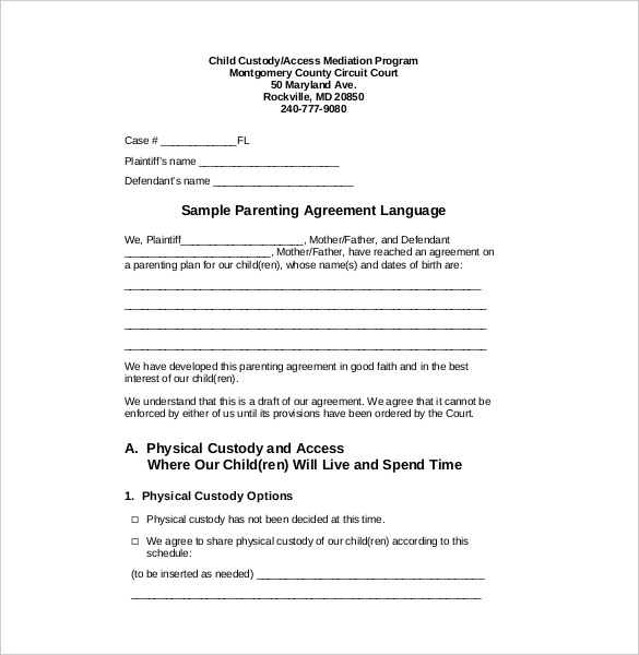 template for child custody agreement custody agreement template 10