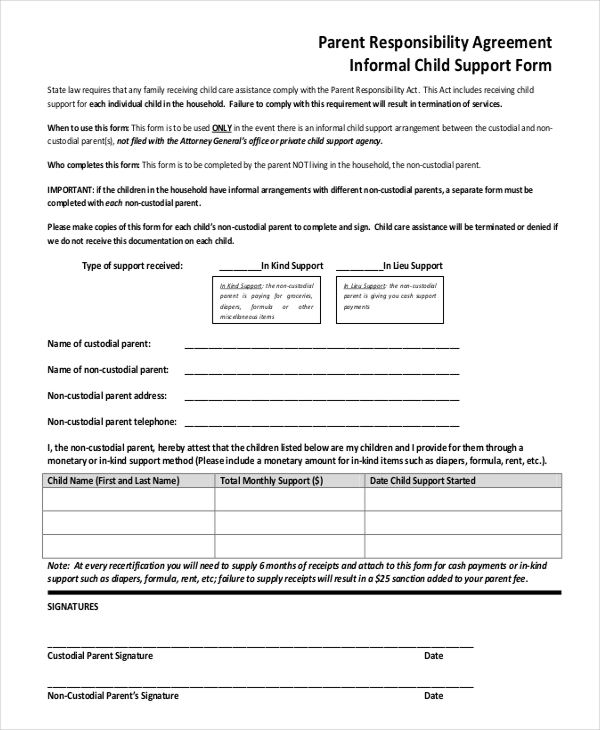 Child Support Agreement Form | beneficialholdings.info
