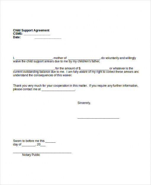 Child Support Agreement Template Free Download Sample Child