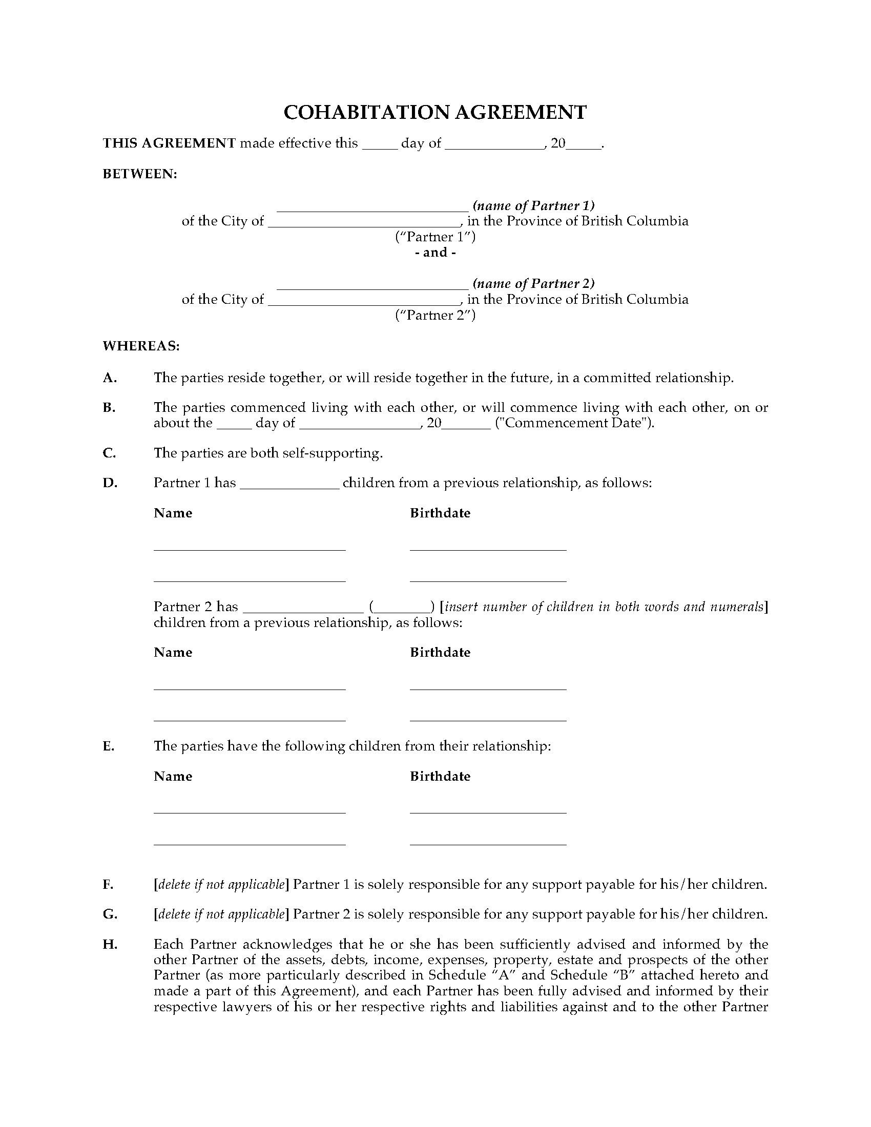 British Columbia Cohabitation Agreement | Legal Forms and Business