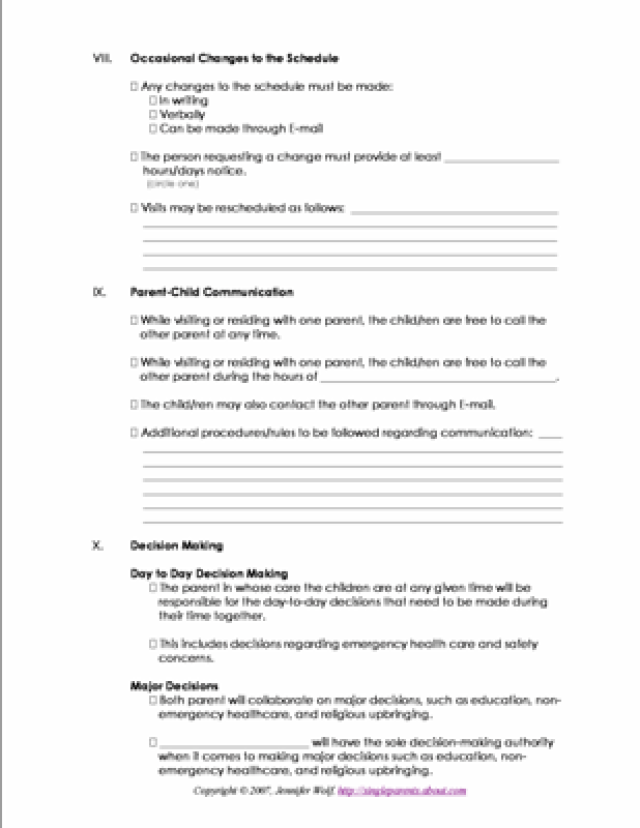 co parenting contract agreement template 4 free printable forms