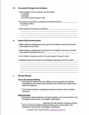co parenting contract agreement template parenting plan worksheets