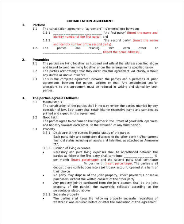 Cohabitation Agreement Template emsec.info