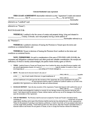 Colorado Lease Agreement Fill Online, Printable, Fillable, Blank