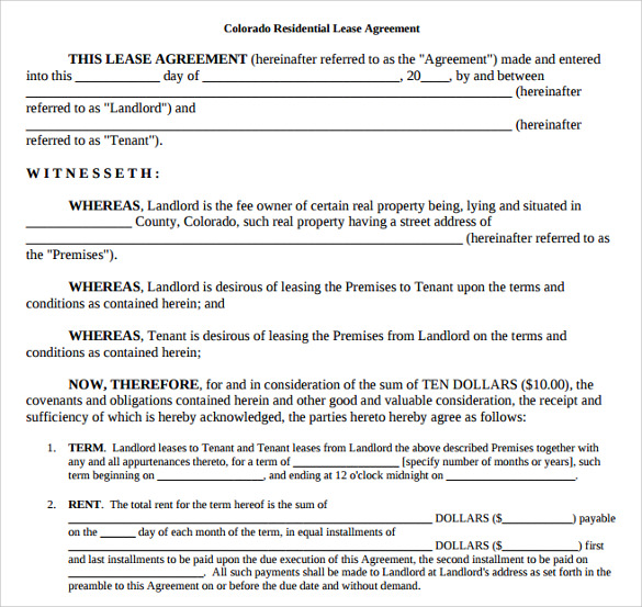 free rental agreement template colorado printable lease agreement