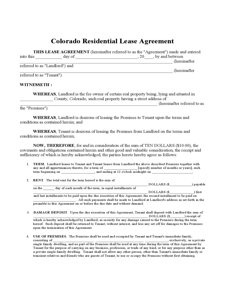 Colorado Residential Lease Agreement Gtld World Congress