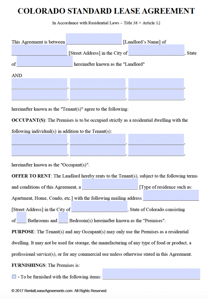 Free Colorado Residential Lease Agreement Template – PDF – Word