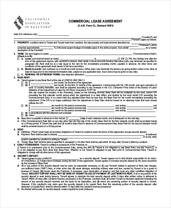 Sample Commercial Lease Agreement Form 8+ Free Documents in PDF