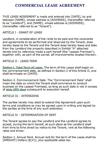 Free Florida Commercial Lease Agreement – Microsoft Word