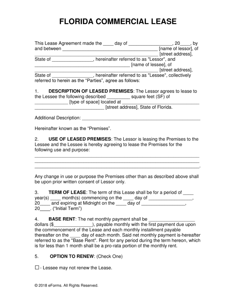 Free Florida Commercial Lease Agreement Template Word | PDF