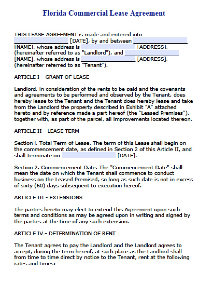 Free Florida Commercial Lease Agreement | PDF | Word (.doc)