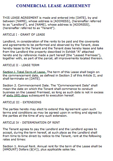 retail lease agreement template free florida commercial lease