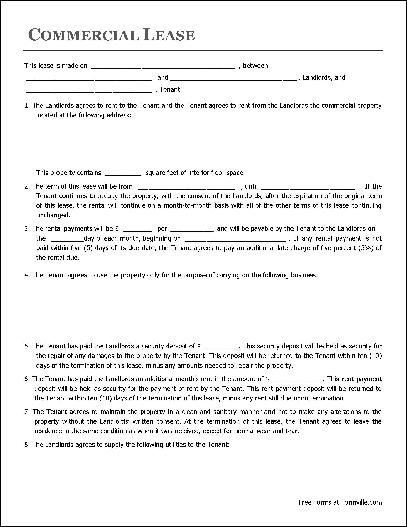 commercial lease agreement template free pdf commercial lease