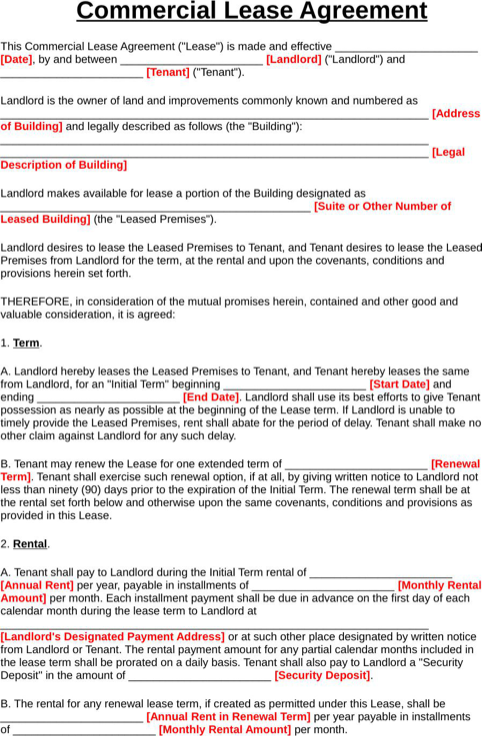 texas commercial lease agreement template commercial lease form