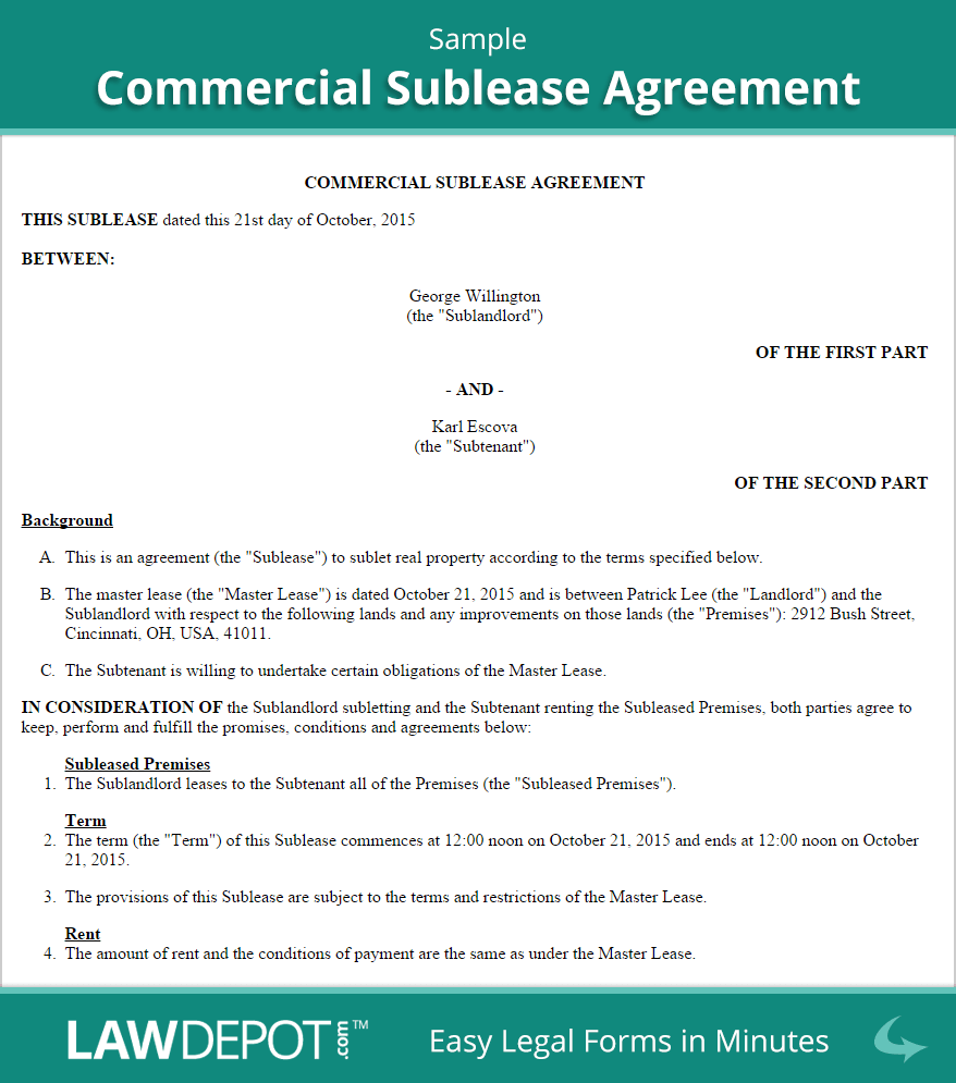 Commercial Sublease Agreement Template (US) | LawDepot