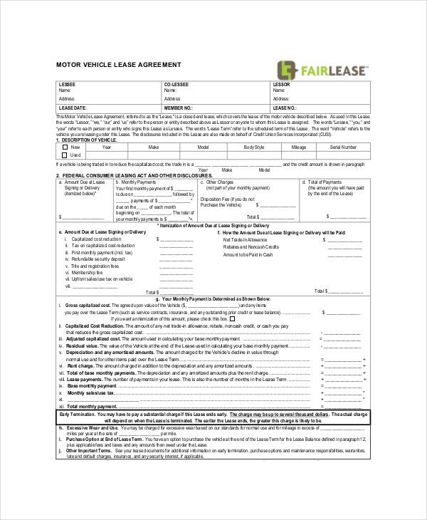 commercial vehicle lease agreement template commercial lease