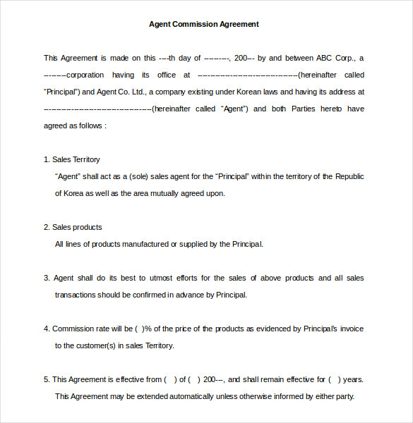 commision agreement template free commission agreement template 22