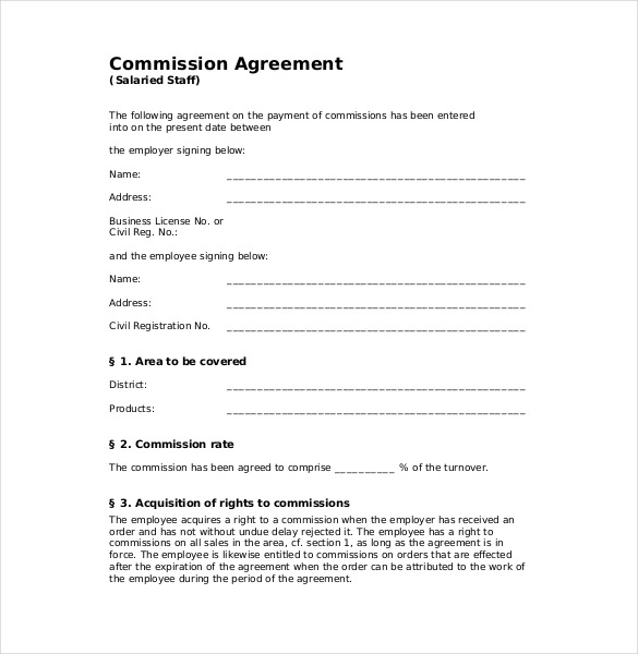 commision agreement template 21 commission agreement template free