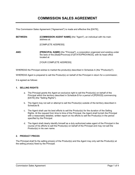commission agreement template commission sales agreement template