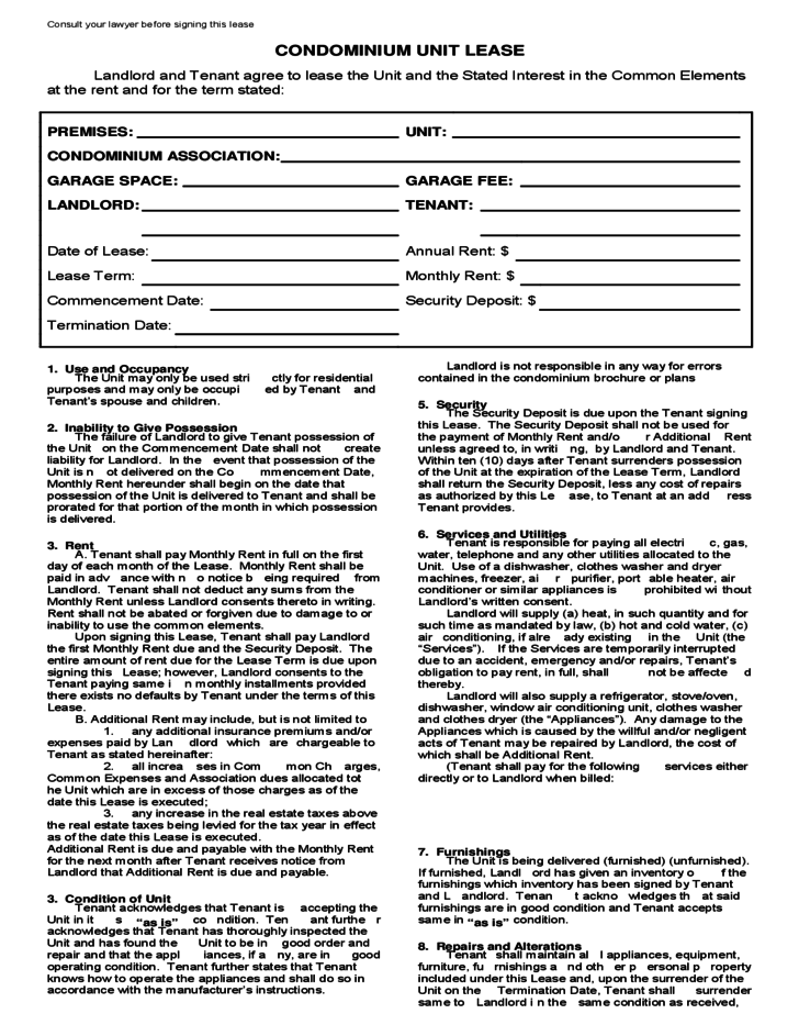 condo rental agreement template florida free restaurant lease