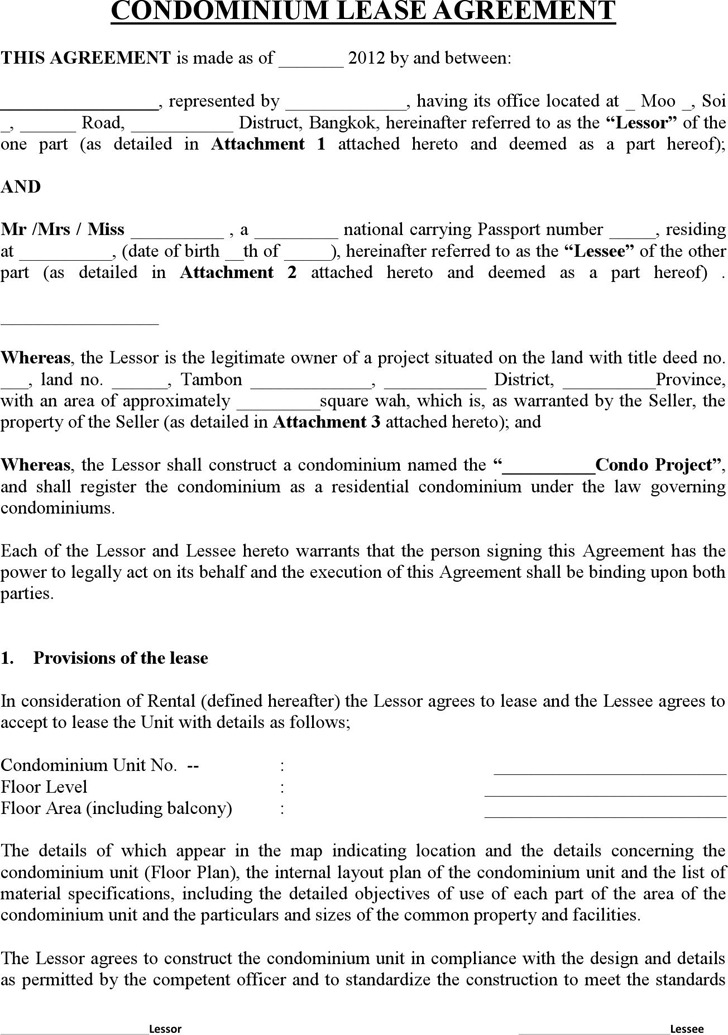 condo lease agreement template condo rental agreement template 42