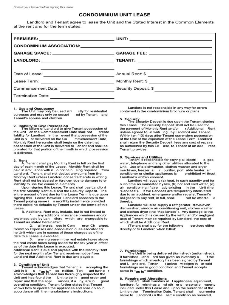 Condo Lease Agreement 10 Free Templates in PDF, Word, Excel Download