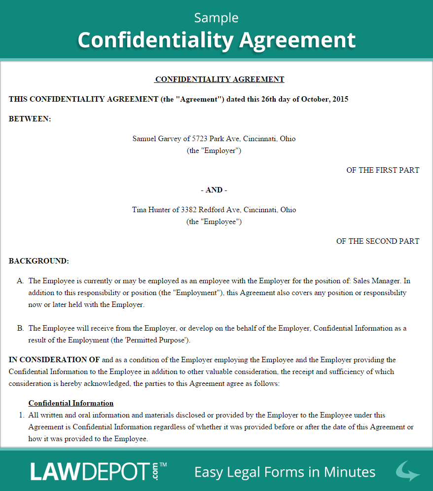 Confidentiality Agreement Form (US) | LawDepot
