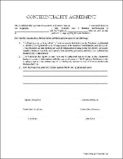employment confidentiality agreement free template employee