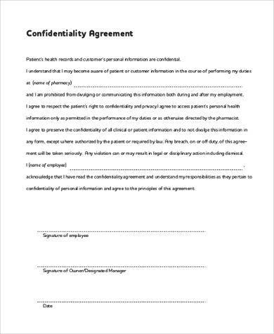 Confidentiality Agreement Form Samples 9+ Free Documents in Word