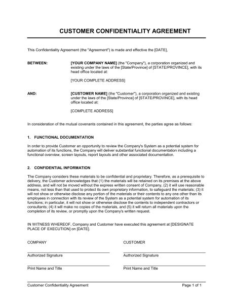 Customer Confidentiality Agreement Template & Sample Form