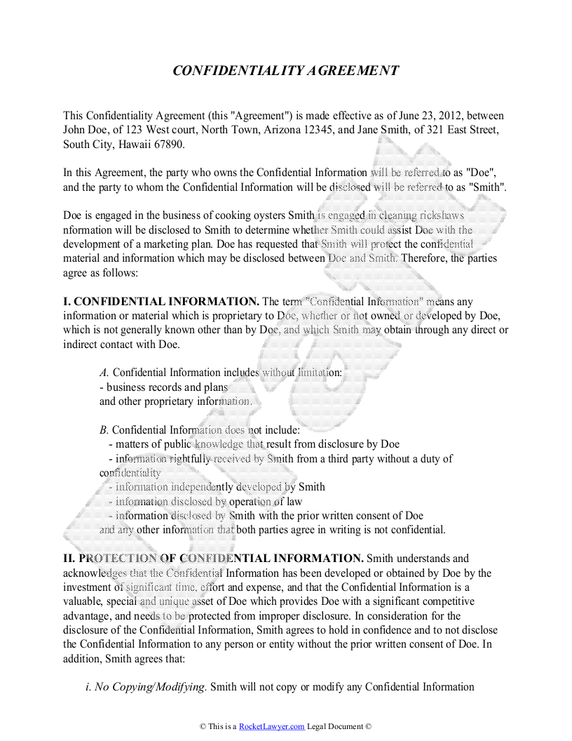 Confidentiality Agreement Template Free Sample Confidentiality