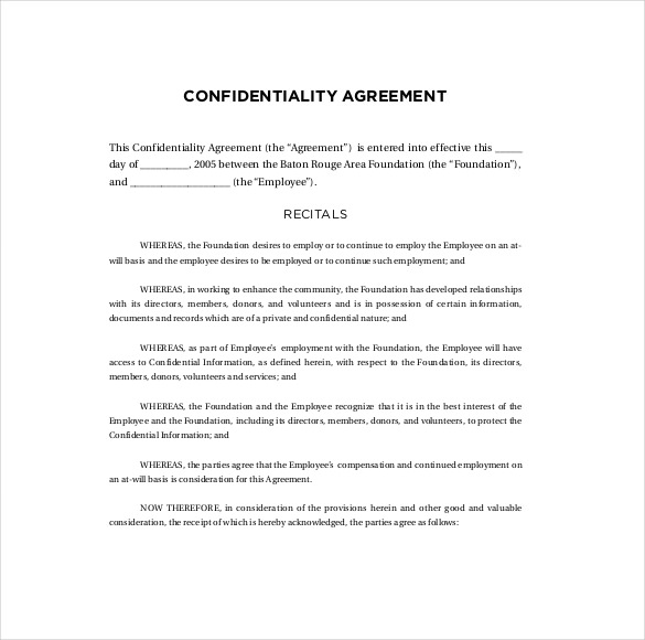 Confidentiality Agreement Templates 9+ Free Word Documents