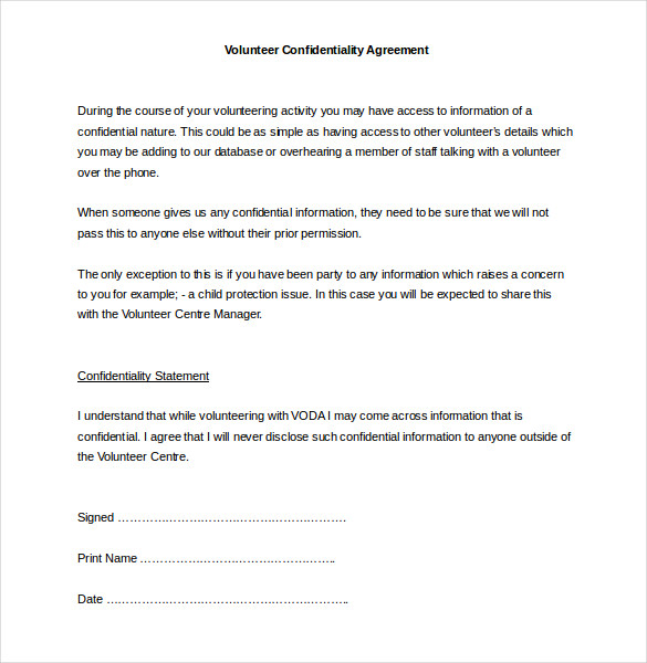 Confidential Agreement Template Word Gtld World Congress